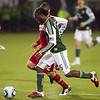 Portland Timbers forward Jorge Perlaza (15) runs the ball past defenders Portland defeated Chicago 4-2 in the rain at the home opener at Jeld-Wen Field in Portland, Oregon