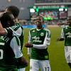 Portland Timbers forward Jorge Perlaza (15) and his team celebrate after a goal in the second half. Portland tied New York 3-3 at Jeld-Wen Field in Portland, Oregon