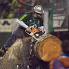 Lumberjack Joey cuts another piece of wood symbolizing yet another Timbers goal. Portland defeated Chicago 4-2 in the rain at the home opener at Jeld-Wen Field in Portland, Oregon