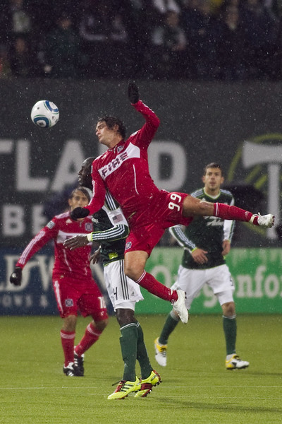 Chicago Fire forward Diego Chaves (99) heads the ball in the first half. Portland defeated Chicago 4-2 in the rain at the home opener at Jeld-Wen Field in Portland, Oregon