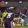 Portland Timbers midfielder Jack Jewsbury (13) kicks the corner kick that led to the Timbers first goal. Portland defeated Chicago 4-2 in the rain at the home opener at Jeld-Wen Field in Portland, Oregon