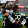 Portland Timbers defender/midfielder Rodney Wallace (22) celebrates with his team after a goal in the second half. Portland tied New York 3-3 at Jeld-Wen Field in Portland, Oregon