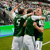 Timbers players celebrate after a goal in the second half. Portland tied New York 3-3 at Jeld-Wen Field in Portland, Oregon