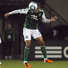 Portland Timbers defender Jeremy Hall (17) heads the ball in the first half.  Portland defeated Chicago 4-2 in the rain at the home opener at Jeld-Wen Field in Portland, Oregon