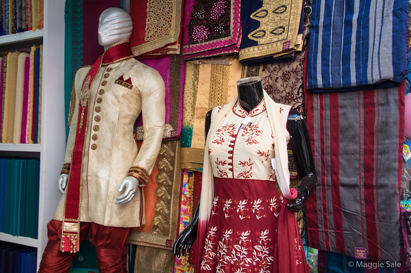 Clothing store selling material and finished costumes.