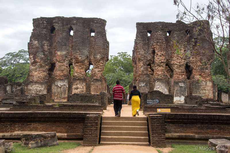 The King's palace at the ancient city ruins of Polonnaruwa. It was originally 7 stories high and had 1000 rooms. It is a UNESCO World Heritage site.