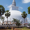 The largest dagoba at Anuradhapura which is surrounded by a low square wall with a frieze of elephants and a small dagoba at each corner.