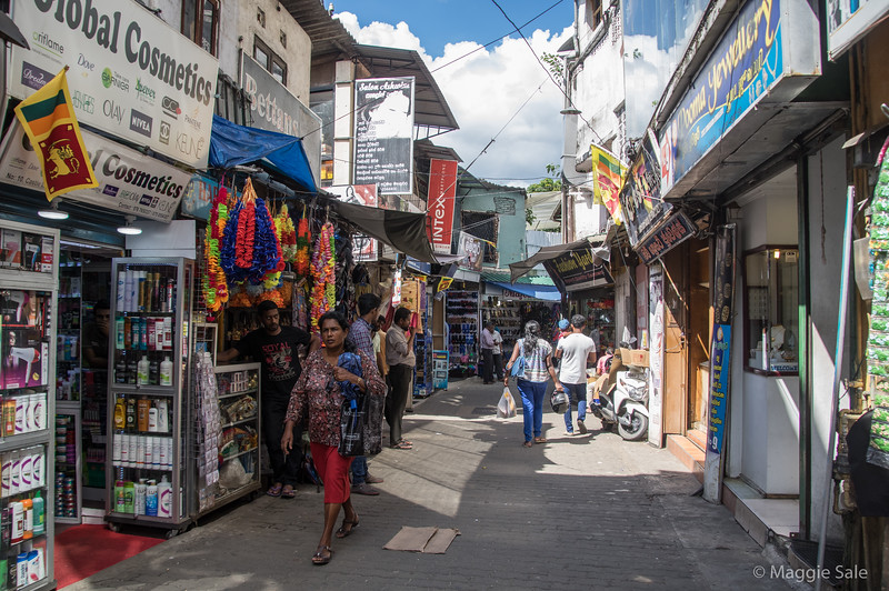 A side street in downtown Kandy - we went to a CD store here with Sam to buy a disc of instrumental music for making a slide show!