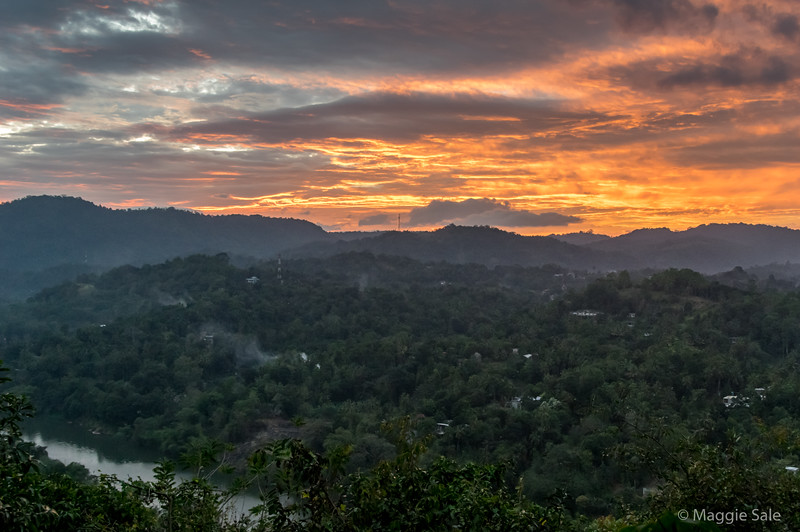 Sunset view from our Kandy hotel, high above the river and on the edge of town.