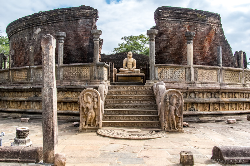The Vatadage building in the group of buildings known as the Sacred Quadrangle - the best part of the ruined city. There are four entrances with four Buddhas at the top of each entrance.