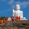 Large Buddha on the hillside at Mihintale.