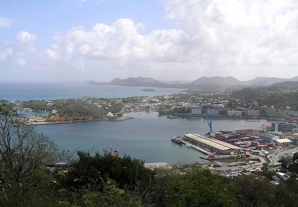 Port Castries - to Rat Island in Choc Bay - and Pigeon Island (distal L. horizon)