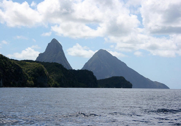 From the Caribbean Sea - across Grand Caille Point (at Anse Chastanet Beach) - to the volcanic spires of Petit and Gross Pitons - Soufriere quarters