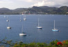 Across Rodney Bay, filled with morred sail boats, that are here for the 9th annual Jazz Festival - with the main outdoor venue set up here on Pigeon Island