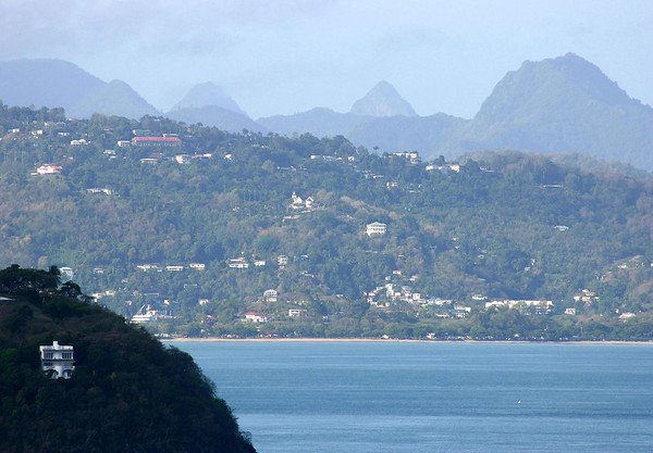 From Fort Rodney - across the northwestern slope of Masson Point - beyond Choc Bay - to the distal Twin Pitons, about 20 mi. (32 km ) southward