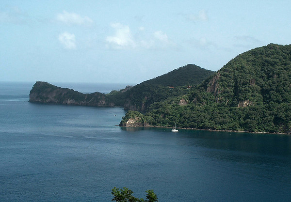 Across Soufrière Bay to the shaded tip of Grand Caille Point