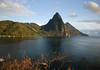From Grande Caille Point - across Soufrière Bay - to the Piton Mitan Ridge - and the late evening sunlight upon the Petit and Gros Pitons, along the southwest coastline