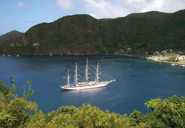 Multi-mast sailing schooner - morred at Soufrière Bay