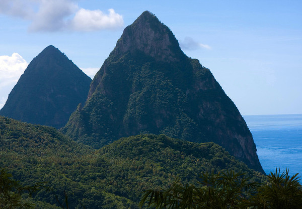 Across the tropical forest along the Piton Mitan Ridge - to the Petit and Gros Pitons - and the Caribbean Sea below