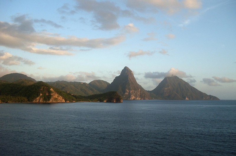 Across Grand Caille Point (and Anse Chastanet Beach) - to the Twin Pitons (Petit and Gros with its summit in the cumulus clouds) - a UNESCO World Heritage Site (2004)