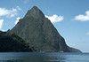 Soufrière Bay - to the northern volcanic face of Petit Piton - rising 2,438 ft. (743 m) above the Caribbean Sea