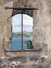 Through a window at Fort Rodney, on Pigeon Island - viewing southeastward into Rodney Bay and Gros Islet (town)