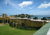 Fort Christiansvaern - across the cannons of the water battery - to Protestant Cay in the Christiansted Harbor