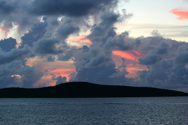 Sunset beyond the coral reef that parallels the northeastern shore of St. Croix - out to Buck Island - about 1.4 mi. (2.4 km) away