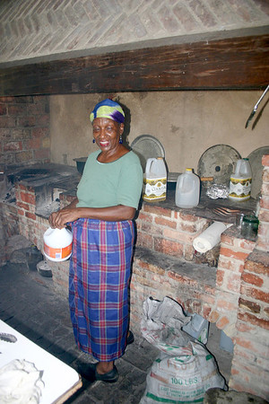 Miss Taiery - cooking lunch at the cookhouse at the Whim Plantation