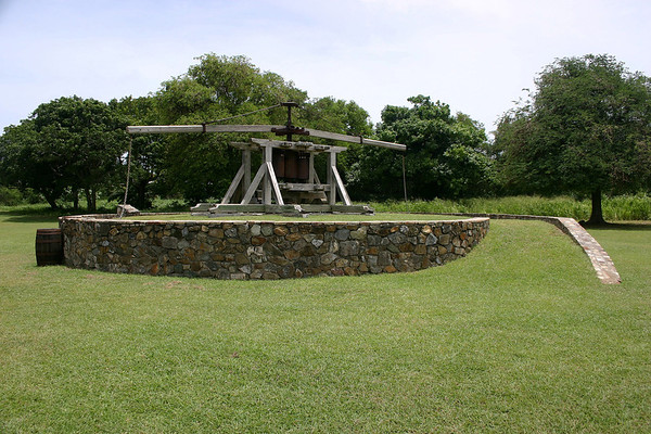 Animal Mill - the earliest mode of extracting juice from sugarcane stalks - operated by oxen, mules, horses - Whim Plantation