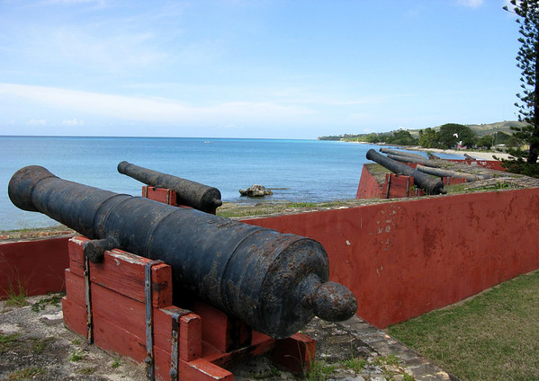 Fort Frederik - viewing northward along the western coastline of theisland