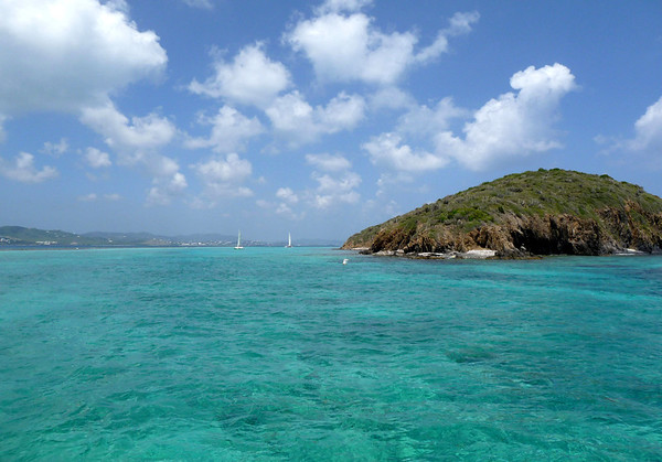 Buck Island - entering into the southeastern lagoon - at Diedrichs Point (the southern most point of the island) - viewing westward towards Christiansted (town) and Mount Eagle (the highest point on the island) which is located on the northwestern area of the island