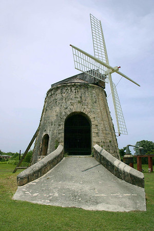 Windmill - used to turn a gear system, with turned the roller press to squeeze the juice from the sugarcane stalks - Whim Plantation
