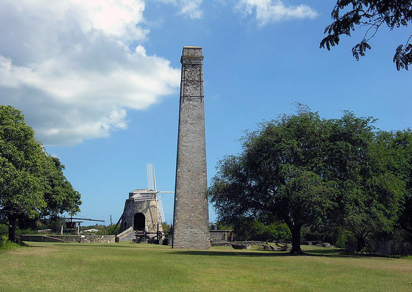 Whim Plantation Estate Museum - chimney, steam engine, animal mill, and windmill.