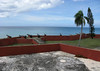 Across the rampart of Fort Frederik - into the Caribbean Sea, western island