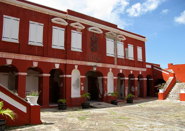 Courtyard of Fort Frederik - through the years it has served as several government functions: a military garrisaon, police staion, jail, court, fire department, and public library - now a museum