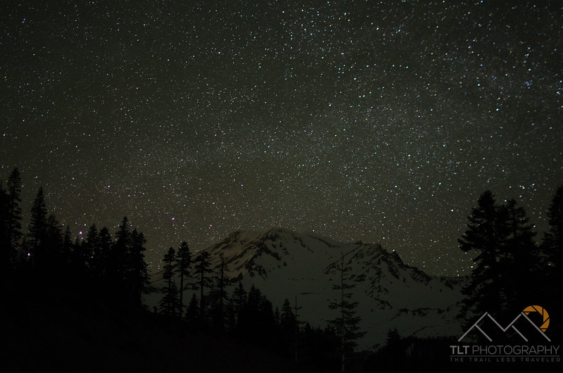 Mt. Shasta under a starry night from our pullout at Sand Flat Road just below the trailhead. Please Follow Me! https://tlt-photography.smugmug.com/