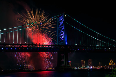 Fireworks Over Ben Franklin Bridge - July 1, 2017