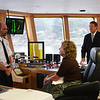 First Lady Gayle Manchin is given a tour by the Captain of the ship.