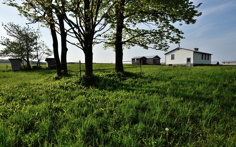 Amish school house on Peavy Road, Town of Allen.  Nikon D750 and 20mm f/1.8G lens (May 2016).