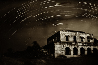 Star trails over Harrismith house