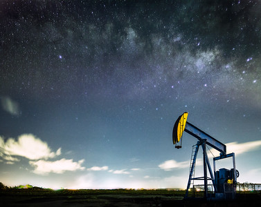 "An oil ""donkey"" works under the stars"