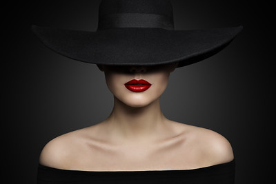 Woman Hat Lips and Shoulder, Elegant Fashion Model in Black Wide Broad Brim Hat, Retro Lady Beauty Portrait