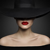 Woman Hat Lips and Shoulder, Elegant Fashion Model in Black Wide Broad Brim Hat, Retro Lady Beauty Portrait