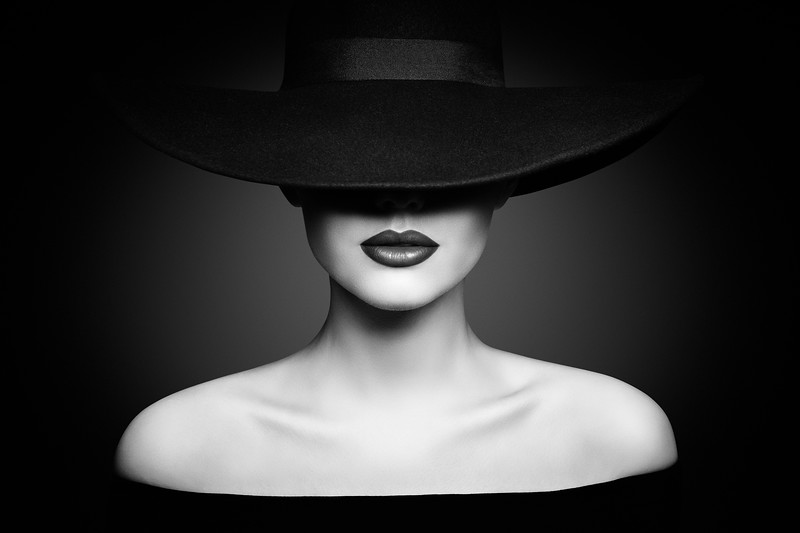 Woman Hat Lips and Shoulder, Elegant Fashion Model in Black Wide
