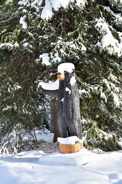 9388: Bear Carving in Snow