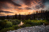 USA, Idaho, Idaho County, Warren, Warren Dredge Ponds at Sunrise - 0920