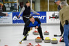 Harry Stones team member Merwyn Nash calls out instructions to the sweepers during Sunday Nights Curling Championship.
