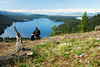 070619: Man and Dog above North Beach, Payette Lake.