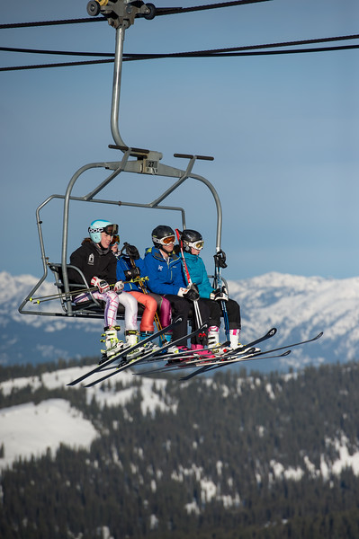2373: Skiers on Lift at Brundage Mountain